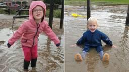 De kinderen van Vivian Maas, Fleur en Sem, 'zwommen' de afgelopen maanden in de speeltuin (foto: Vivian Maas).