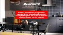 De melding op de website van Mandemakers Keukens.