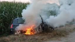 Dronken automobilist belandt in sloot, auto in brand en dochters gewond