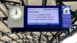 Op het perron in Den Bosch worden de minuten aangegeven hoelang reizigers nog moeten wachten (foto:NS)