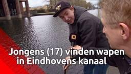Damean en Tim (17) vonden zondag een pistool tijdens magneetvissen in Eindhoven