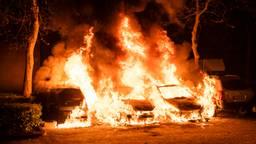 Brand verwoest auto's op parkeerplaats in Tilburg