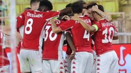 Spelers van AS Monaco vieren feest na de 1-0 tegen Sturm Graz (Foto: ANP)