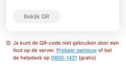 Deze boodschap krijgen mensen te zien als ze de coronacheck-app openen