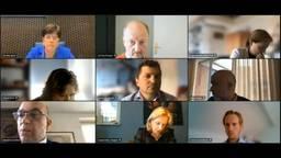 Een beeld van de digitale vergadering met onder anderen commissaris van de Koning, Ina Adema (links boven), Alexander van Hattem (links onder) en Suzanne Otters (midden onder, foto: provincie Brabant).