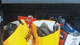 De tassen waarin de amfetamine lag (foto: politie).