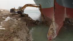 Het vastgelopen containerschip (foto: AFP).
