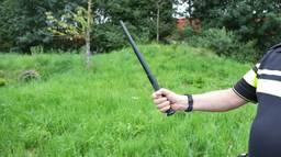 De agenten moesten hun wapenstok gebruiken om de agressieve man tot bedaren te brengen.