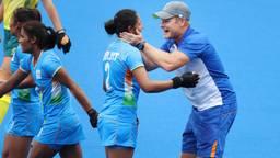 Sjoerd Marijne tijdens de wedstrijd tegen favoriet Australië. Foto: ANP