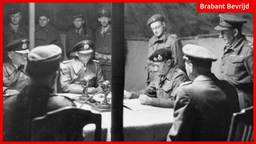 Montgomery (zwarte baret, zittend) met de Duitse commandanten aan tafel in de tent (foto: Wikipedia)