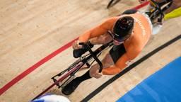 Harrie Lavreysen in actie op het onderdeel keirin (foto: OrangePictures).