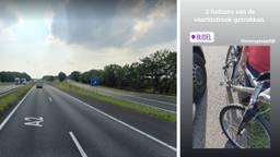 De vluchtstrook en de fietser die daarop reed totdat de politie hem aanhield (foto: omroep Brabant)