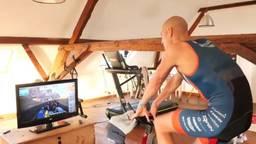 Op zijn zolder fietste Maarten van der Weijden 180 kilometer.