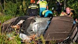 Automobilist mist bocht, ramt bomen en een lantaarnpaal in Oisterwijk