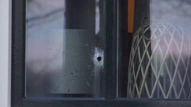 In meerdere ruiten van het huis in Sprang-Capelle zijn kogelgaten te zien (foto: Erik Haverhals/FPMB).