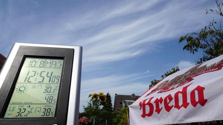 Rond een uur 's middags was het in Breda al 32,2 graden (foto: Henk Voermans).