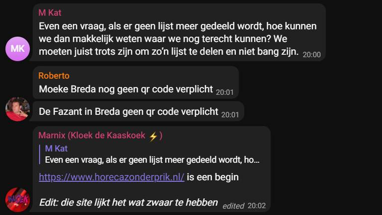 Screenshot uit de Telegram groep 'Vrije restaurants'.