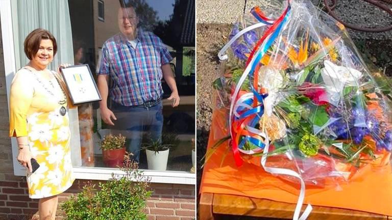 Burgemeester Arinda Callewaert-De Groot zocht de decorandi ook op, zoals Paul 'harmonie' Christiaans (foto: gemeente Bergeijk).