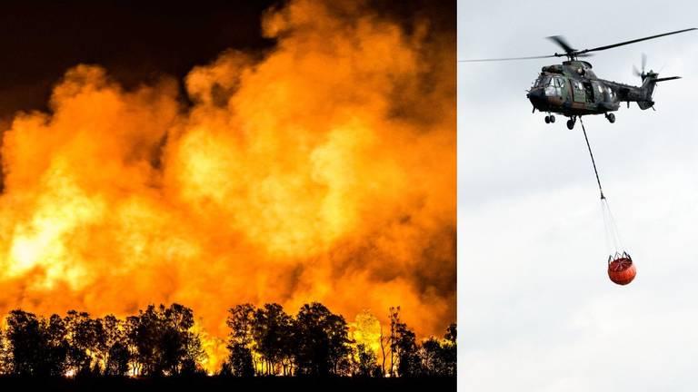 Er zijn weer blushelikopter ingezet bij het bestrijden van de brand. (Foto's: Rob Engelaar & Luchtmacht)