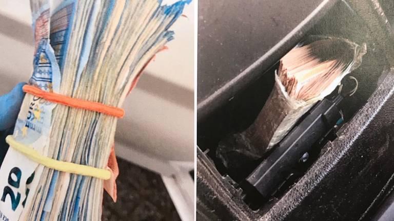 Op meerdere plekken in de auto waren stapels biljetten verstopt (foto: Koninklijke Marechaussee).