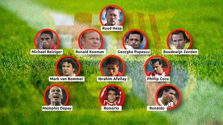 Spelers die bij PSV en Barcelona hebben gespeeld (foto: Omroep Brabant).