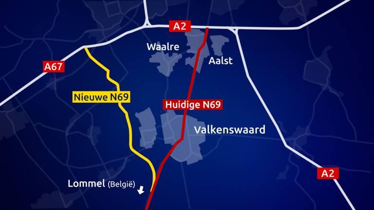 De nieuwe N69 gaat om de Valkenswaard en Aalst heen.