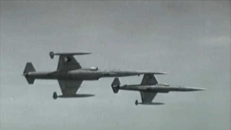 Twee F104 Starfighters ten tijde van de Koude Oorlog.