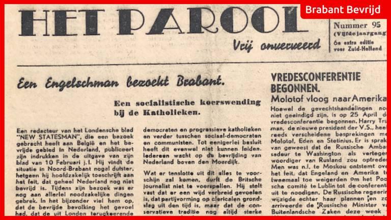 De krant van 27 april 1945 (foto: Jan de Wit).