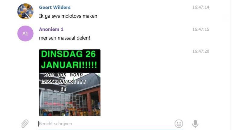Screenshot uit een Telegram-groep in Bergen op Zoom, waarin wordt opgeroepen tot het plegen van geweld.