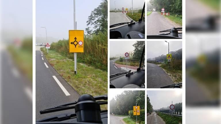 De zeven waarschuwingsborden (foto's: Ton Rovers)