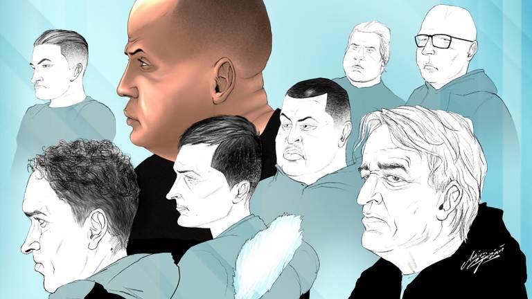 De verdachten van onderzoek Kandinsky (tekening: Adrien Stanziani)