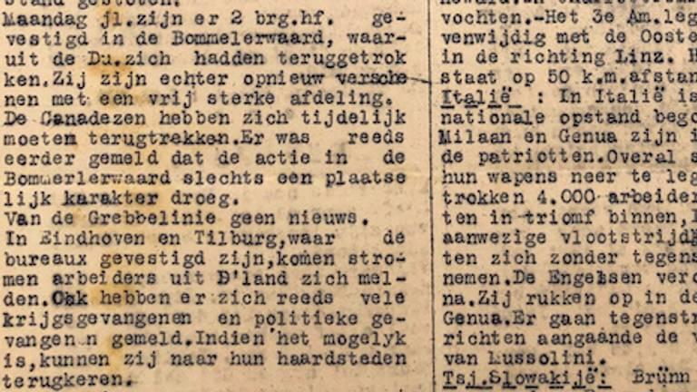 Fragment uit de krant van 27 april 1945 (Foto: Jan de Wit).