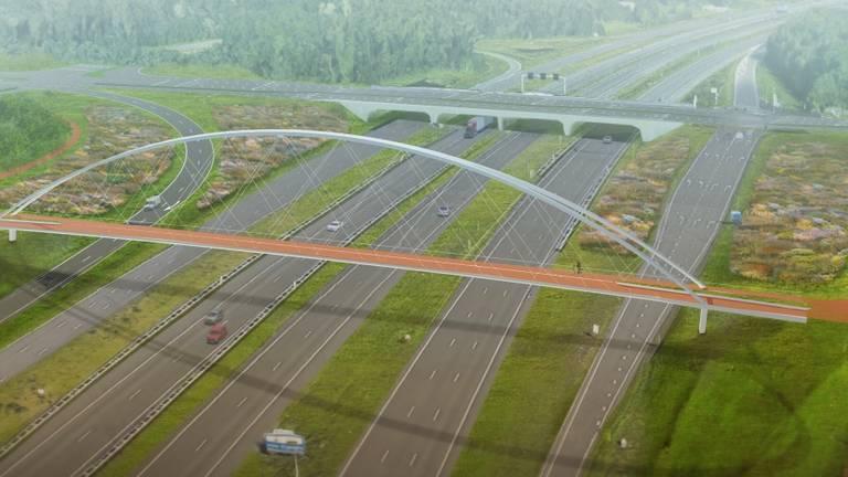 De nieuwe fietsbrug moet een icoon worden (beeld: IPV Delft).