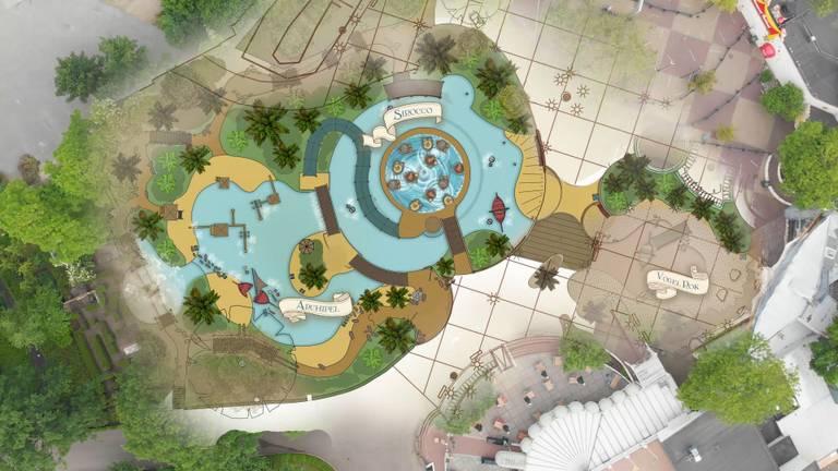 Een bovenaanzicht van de nieuwe 'Wereld van Sindbad' in de Efteling (afbeelding: Efteling).
