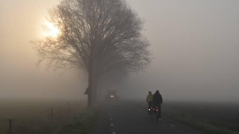 Een mistige zonsopkomst in Stiphout (foto: Willem van Nunen).