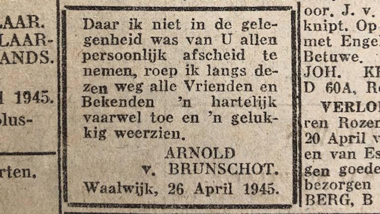 Tussen het oorlogsnieuws stonden ook persoonlijke boodschappen (Foto: Jan de Wit).