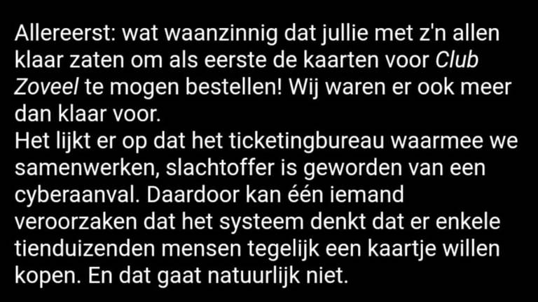 Cyberaanval legt kaartverkoop plat van Club Zoveel van Guus Meeuwis.