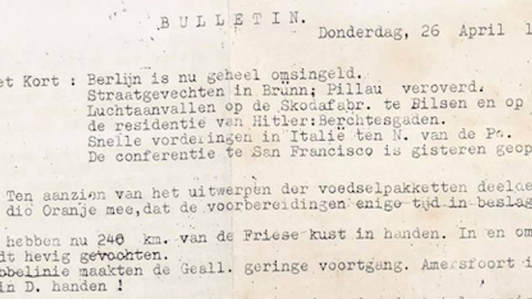 Fragment uit de krant van 26 april 1945 (Foto: Jan de Wit).