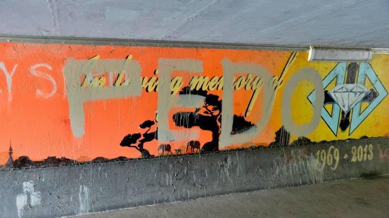 Het kunstwerk is onder gekalkt (foto: Perry Roovers/SQ Vision Mediaprodukties).