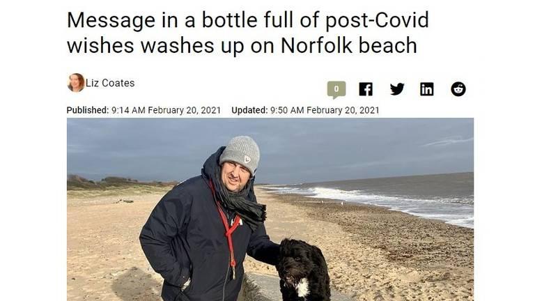 De flessenpost van Jenny is nieuws in Engeland.