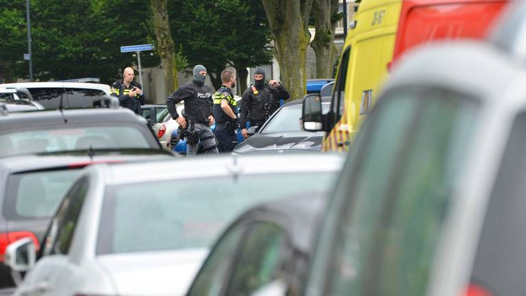 Een arrestatieteam heeft zaterdagochtend in Breda een verwarde vrouw van een steiger aan de Harelbekestraat gehaald. Ze gooide vanaf daar met dakpannen.