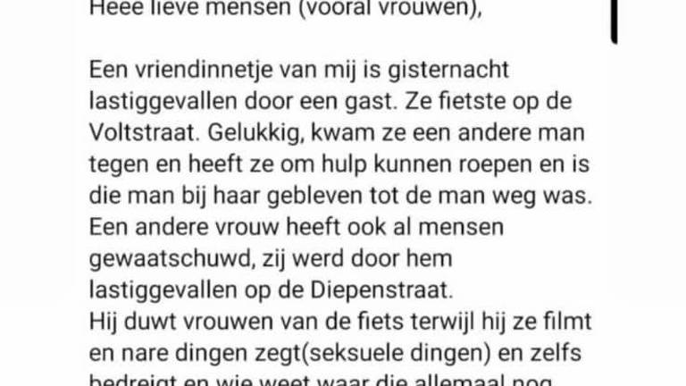 In appgroepen waarschuwen vrouwen elkaar voor een man die hen lastigvalt in Tilburg
