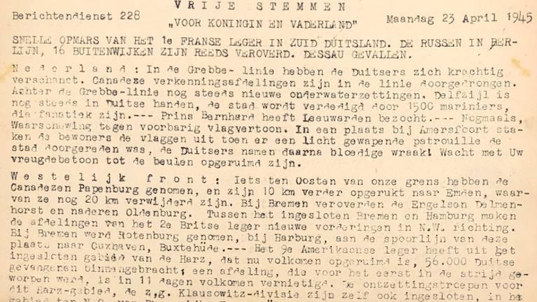 De krant van 23 april 1945.