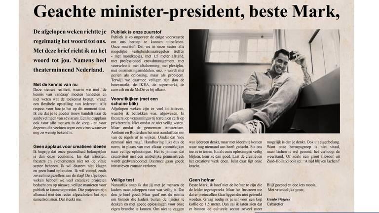 De open brief van Guido Weijers. (Bron: Guidoweijers.nl)