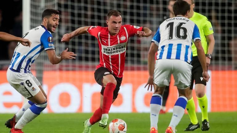 Mario Götze was donderdagavond belangrijk voor PSV tegen Real Sociedad (Foto: OrangePictures)