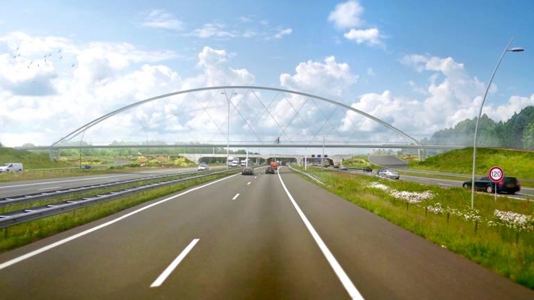 Zo gaat fietsbrug Tegenbosch in Eindhoven eruitzien (beeld: IPV Delft).