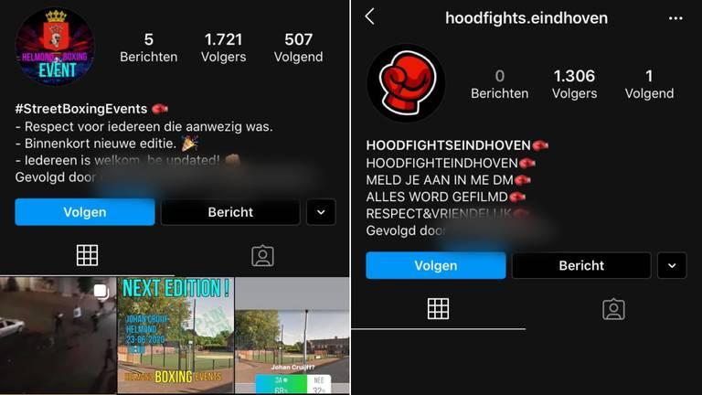 Instagram-accounts helmondboxingevents en hoodfights.eindhoven.