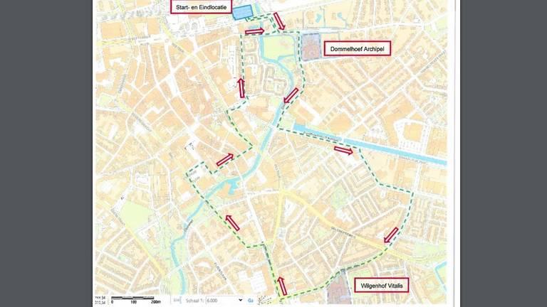 De route van de 'dynamische' manifestatie door Eindhoven (bron: gemeente Eindhoven)