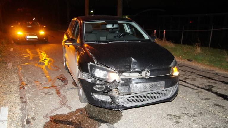 Een van de auto's die betrokken was bij het ongeluk (foto: FPMB - Anja van Beek)