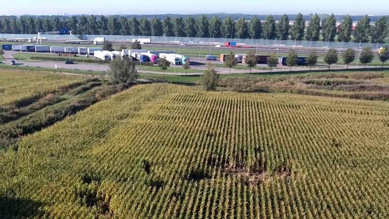 Vanuit de lucht is de schade aan het terrein naast de parkeerplaats goed te zien (Foto: Twan van der Heijden/Heijdens Karwei).